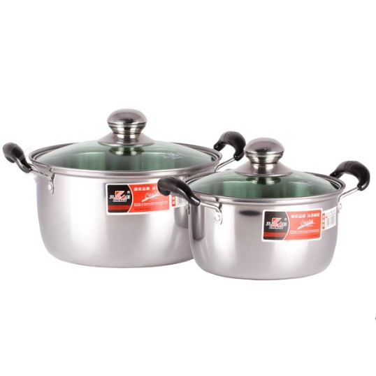 20CM/ 24CM STAINLESS STEEL DOUBLE HANDLE SOUP POT WITH LID COVER