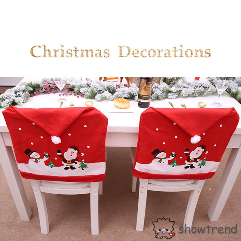 Christmas Chair Back Covers.Christmas Chair Back Cover Xmas Hat Santa Claus Party Dinner Banquet Favors