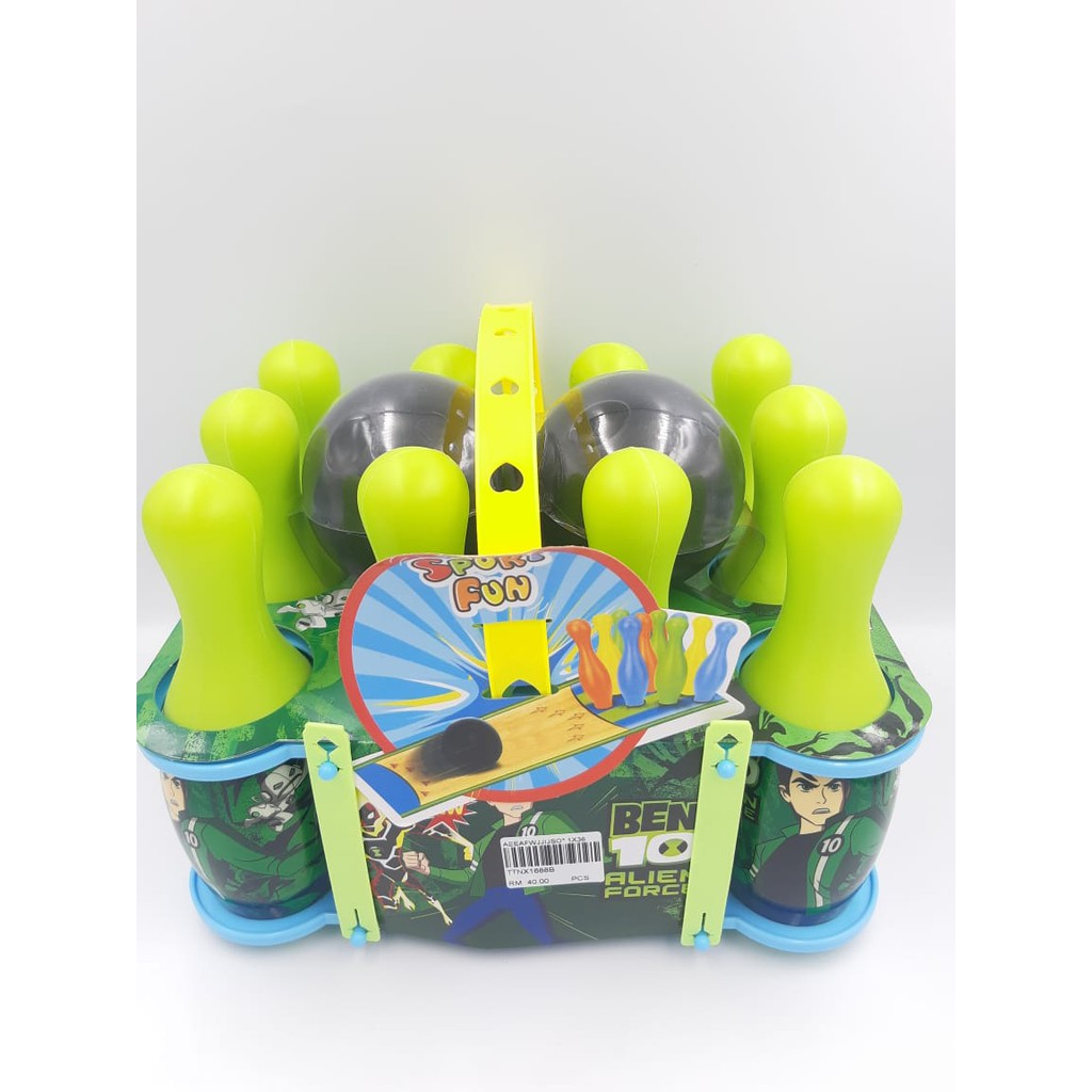 Cartoon Bowling Set Toy for Kids Blue Ben 10 And Hello Kitty mainan boling.