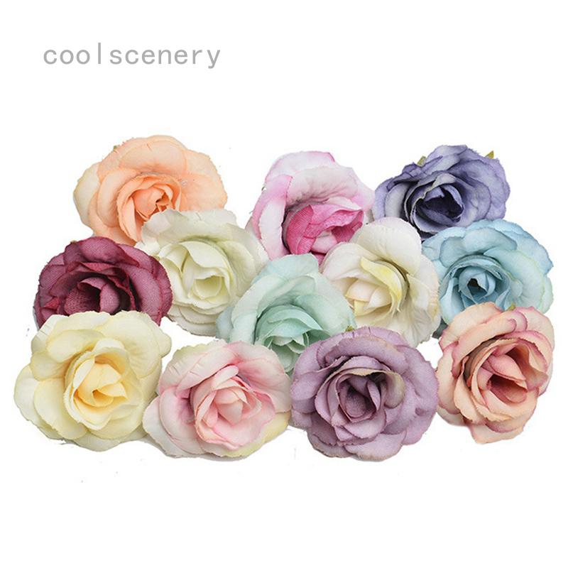 50pcs Artificial Rose Heads Flower Silk Bulk Party Wedding Fake Bouquet Decor Shopee Malaysia