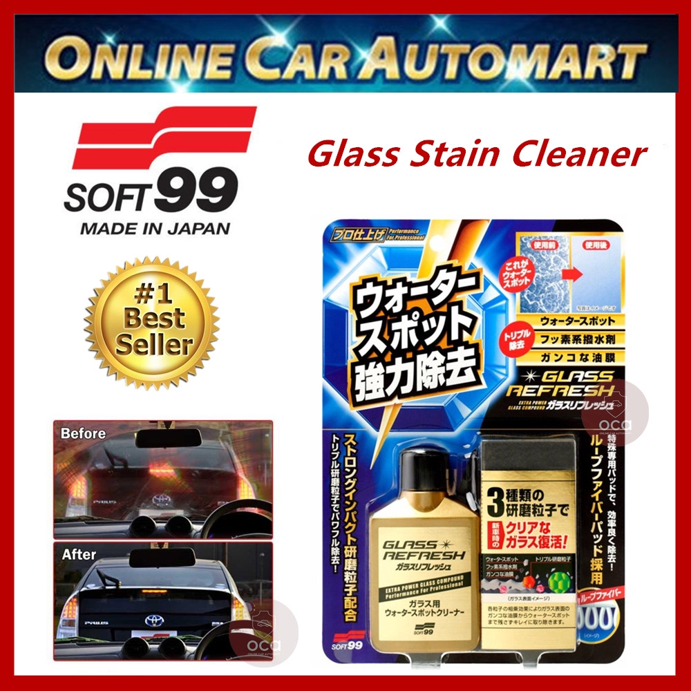 ( Free Gift ) Soft99 / Soft 99 Glass Stain Cleaner- Glass Refresh Oil Film / Water Spots Remover - 80ml
