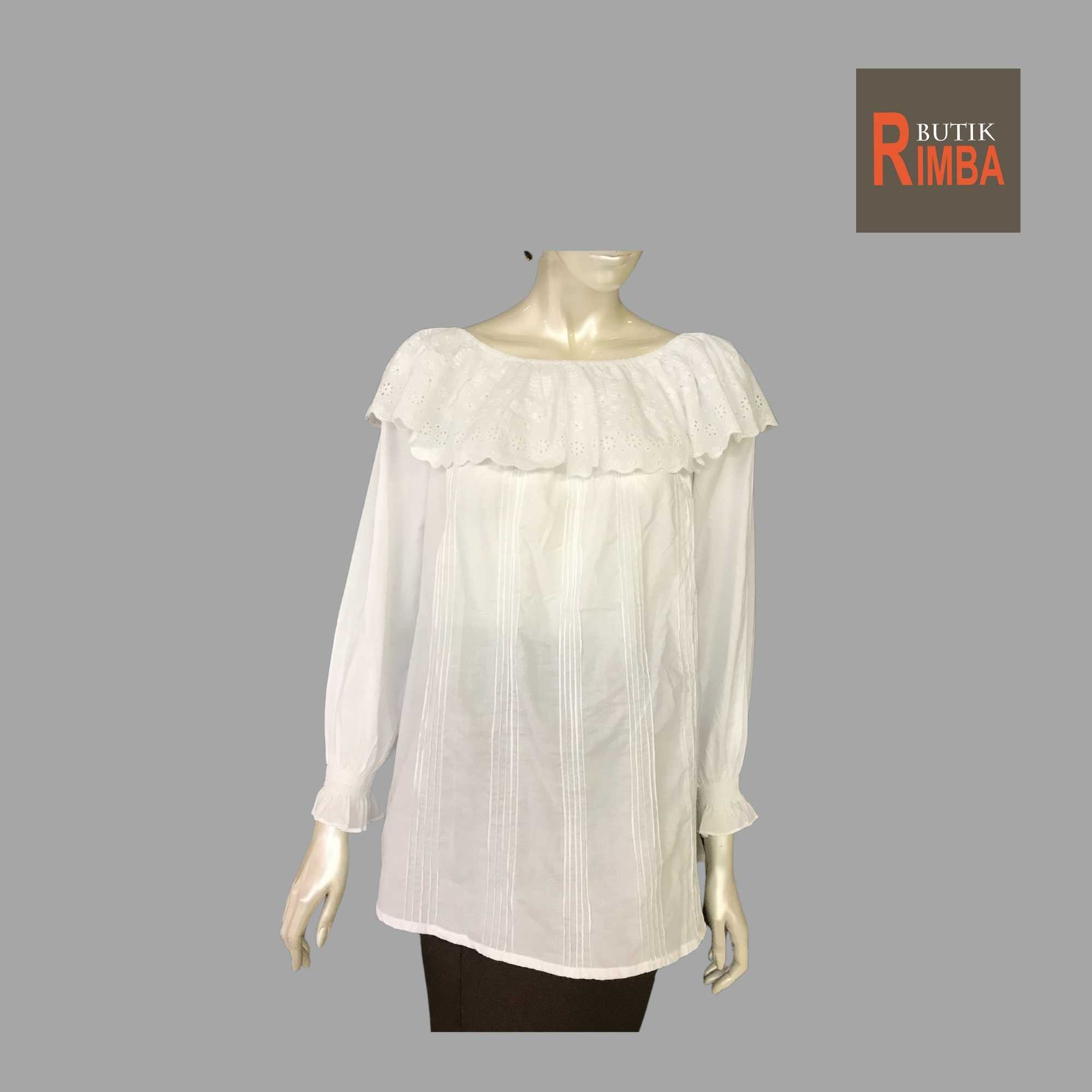 WOMEN CASUAL AND COMFORTABLE WHITE BLOUSE COTTON FREE SIZE PATTERN 06