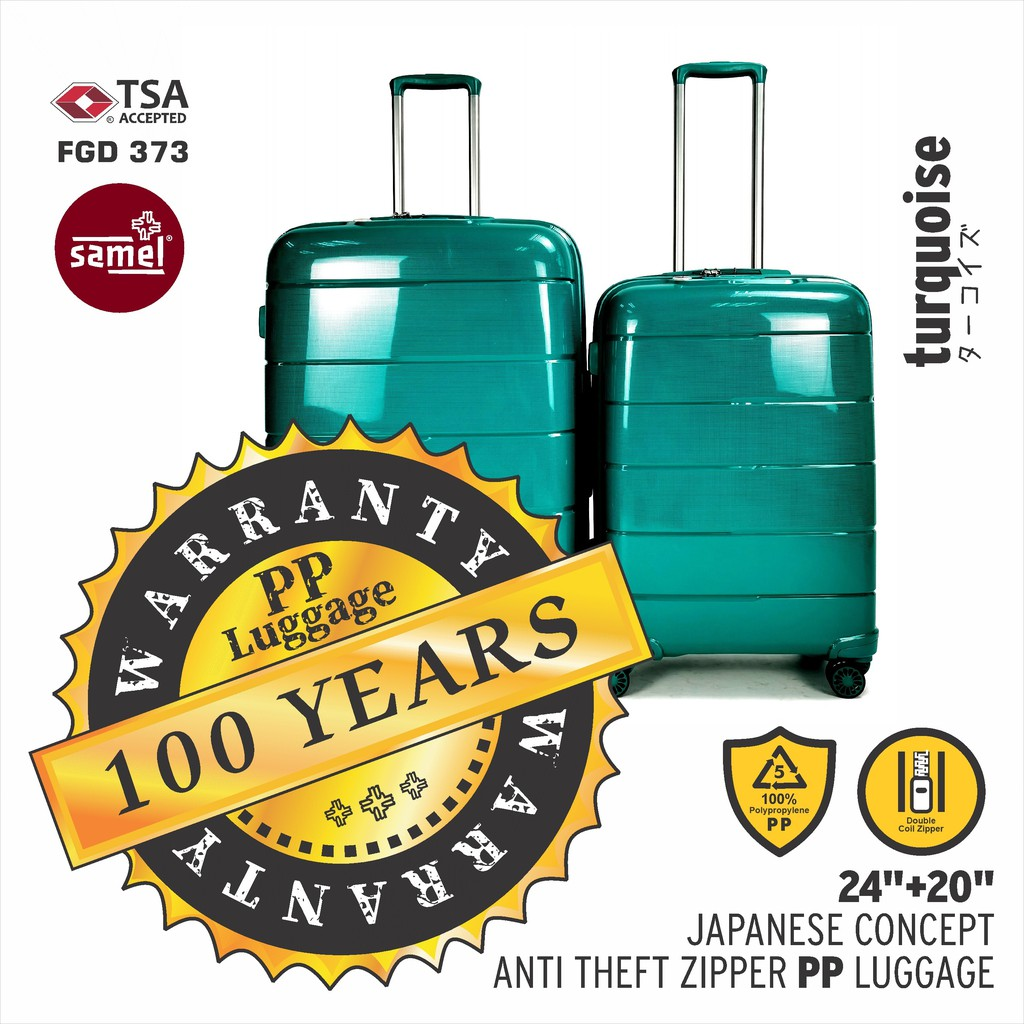 """2 IN 1 SET FGD 373 JAPANESES CONCEPT ANTI THEFT ZIPPER PP LUGGAGE 20"""" + 24"""""""