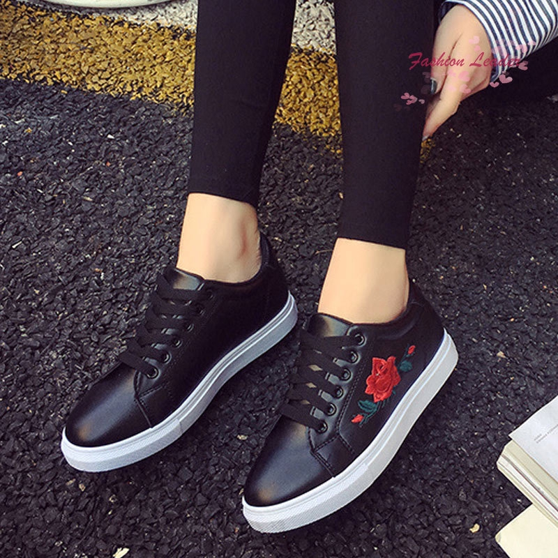 Ladies Women Sneakers Shoes Flats Platform Casual Rose Embroidery LD