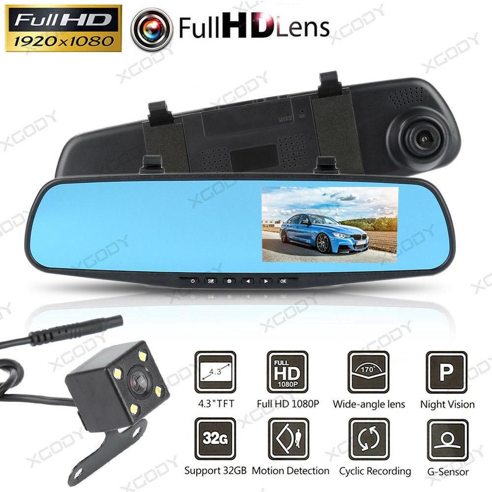 4.3/'/' 1080P HD Dual Lens Car DVR Camera Video Recorder Cam Rearview Mirror MAX