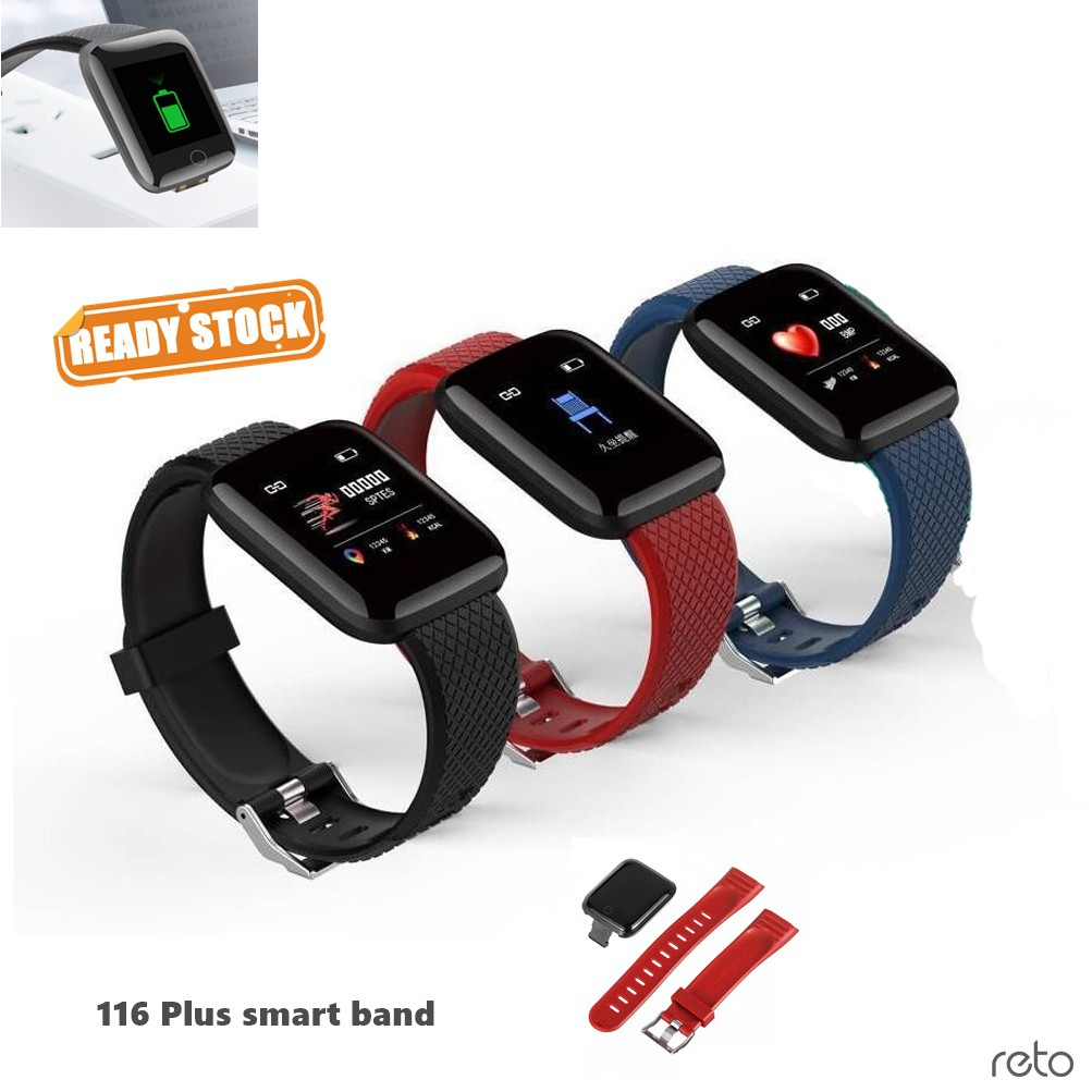 Smart Band 116 Plus Sports Fitness Activity Heart Rate Tracker Blood  Pressure Smart watch Sport Watch with Large Display