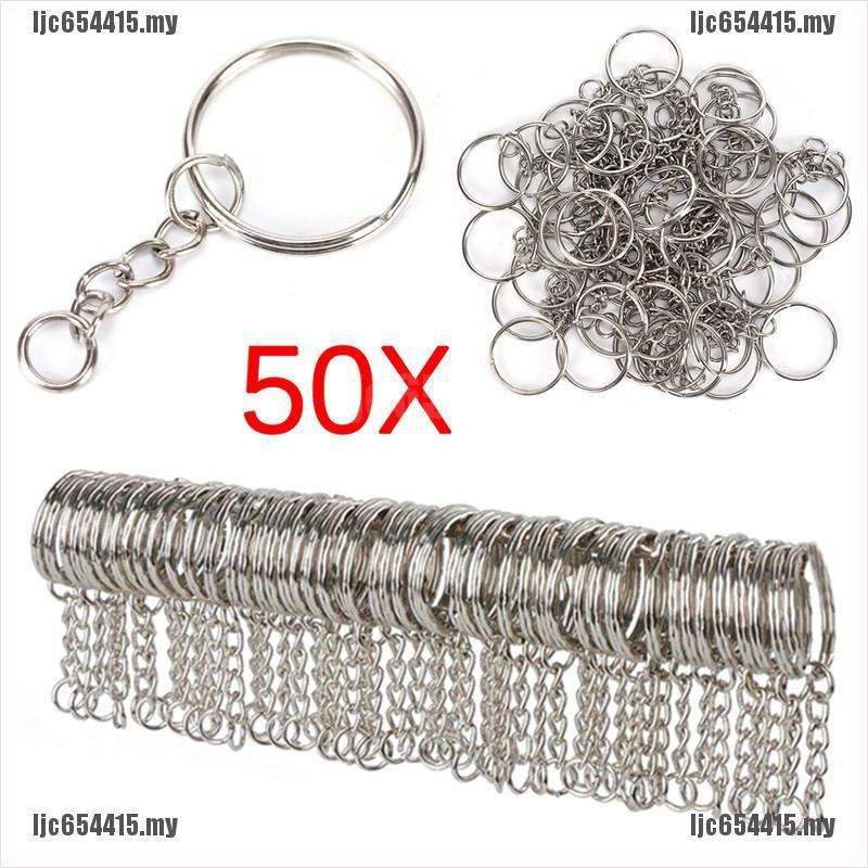 Polished Swivel Clasp with Keyring Chain Flat Split Ring DIY Keychain Supplies