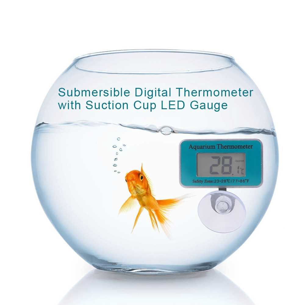 YS88 Instant Read Aquarium Digital Thermometer Waterproof Submersible Fish Tank Suction Cup LED Display Gauge (Standard