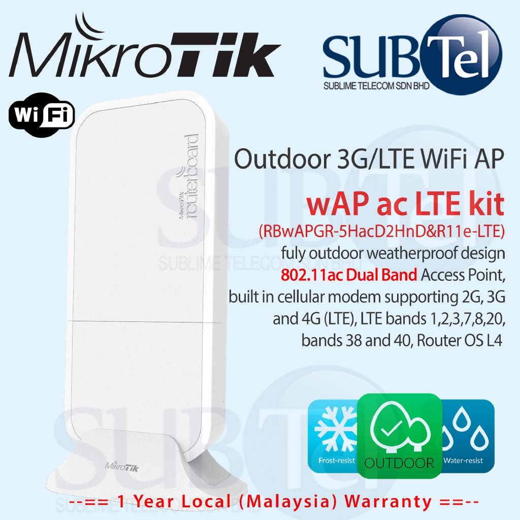 Mikrotik wAP ac LTE Outdoor 2G 3G 4G Router Modem with WiFi AP Malaysia