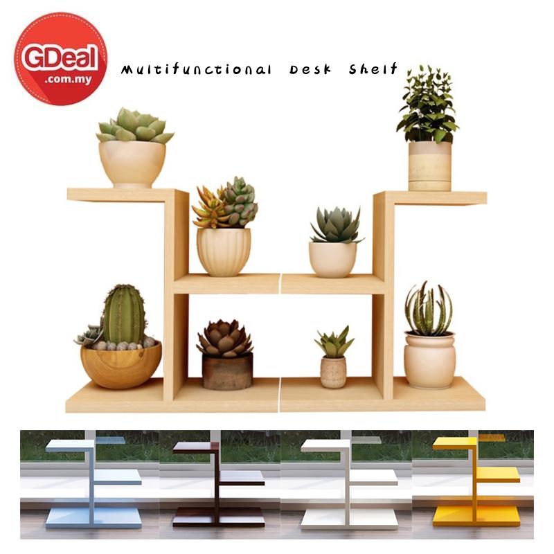 GDeal Multifunctional Solid Wooden Study Desk Racks Artifact Multilayer Storage Organizer