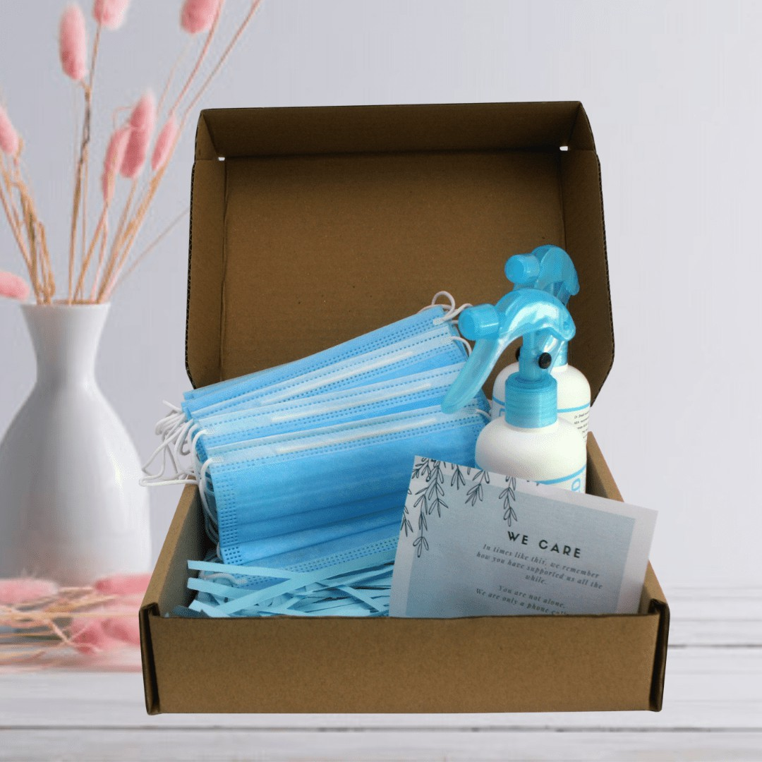Corporate Care Gift Box Set With Professional looking box 50pcs face mask 2 hand sanitizer 250ml