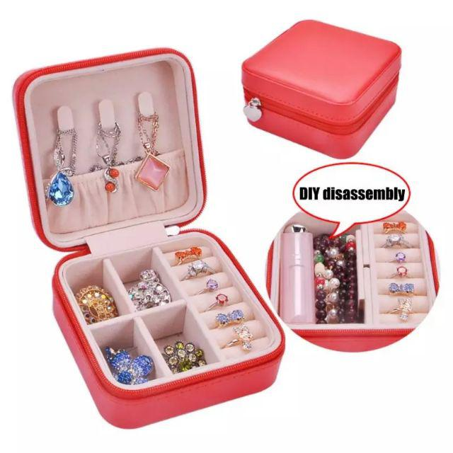 [ READY STOCK ]  Waterproof Pu Leather Jewelry Box Holder Earring Ring Storage Case Organizer Jualan Murah Makeup Bedroom