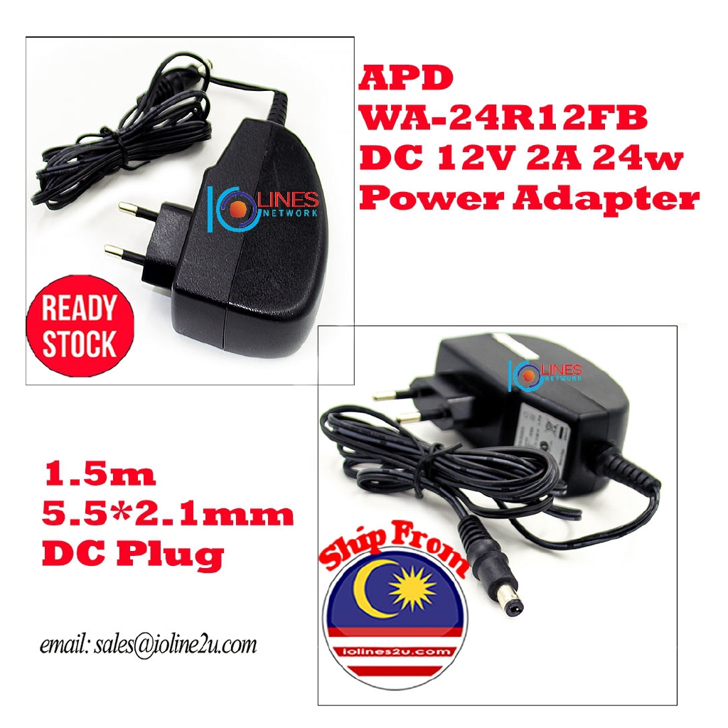 APD WA-24R12FB DC 12V 2A 24w Power supply Adapter 5 5*2 1mm 1 5m Router  Modem