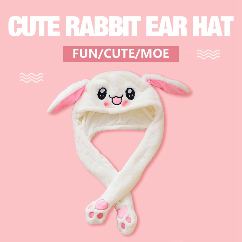 e0b1baf34 Attractive Kids Cuddly Pinch Moving Ear Rabbit Airbag Magnet Hat Dance  Plush Toy