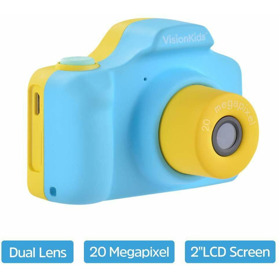 VisionKids 20 Megapixels HappiCAMU Plus Kids Camera Mini Digital Cam Selfie DSLR for Kids HappiCAMU + Action Camera FHD