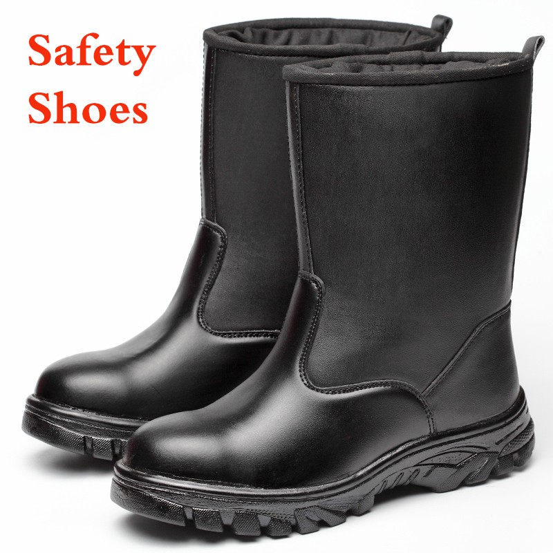 2bb1f4a7830 Leather fishing boots men safety shoes waterproof steel toe work rain boots