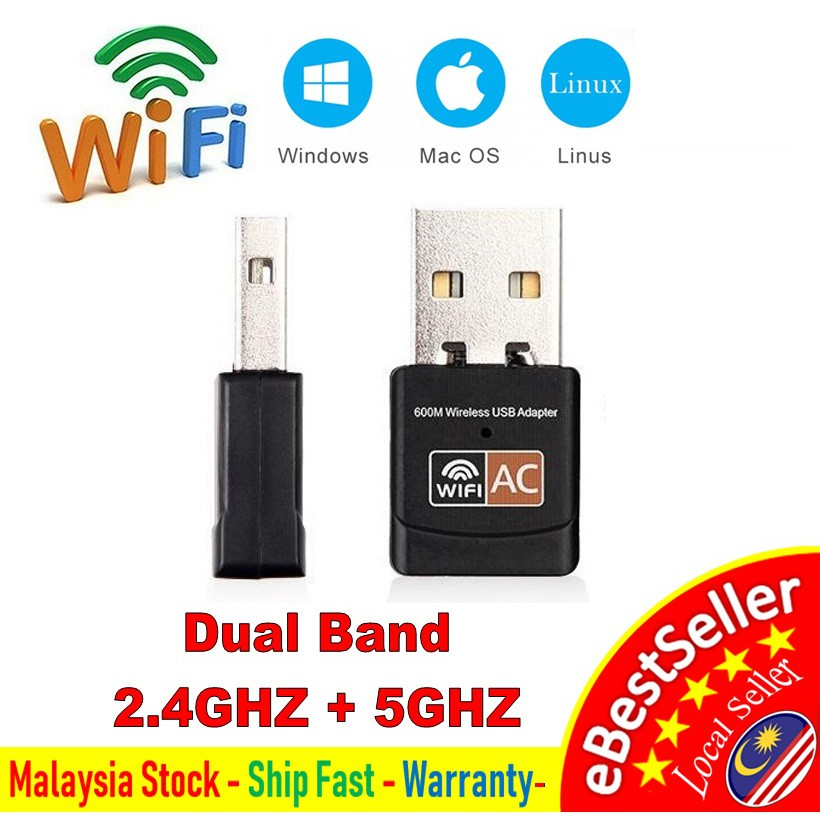 👍 Wireless WLAN AC 600Mbps Dual Band 2 4GHZ 5GHZ WiFi Mini USB Adapter  Realtek