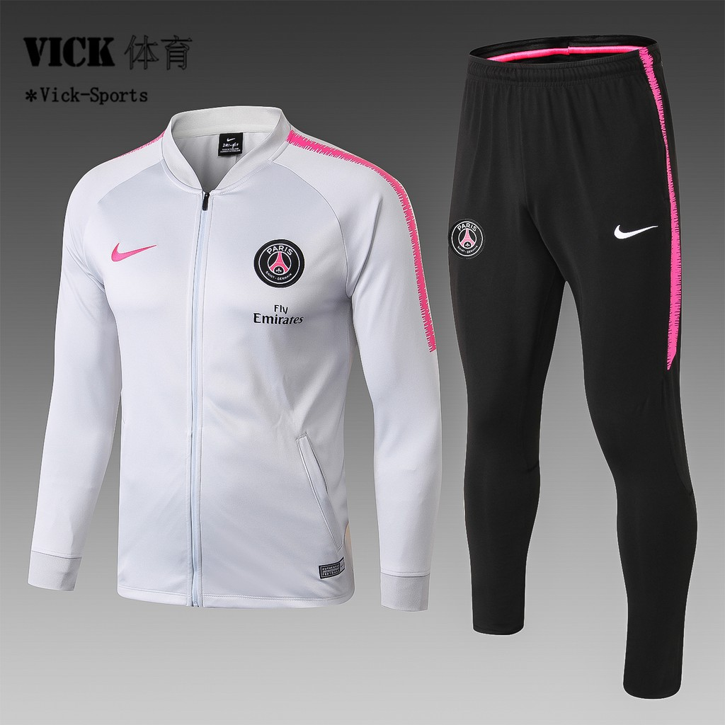 low priced b44bb a5372 2019 PSG Football Jersey Long Sleeve training Suit Sweatshirt Coat Kit White