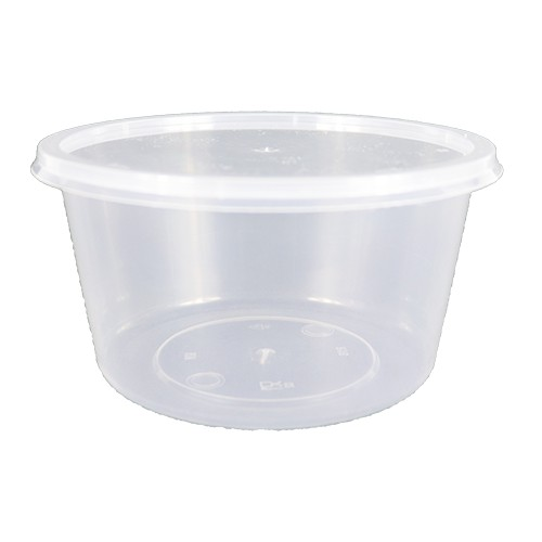 [ 10sets / pack ] Ecohouse Round PP Microwaveable Food Container 470ml (16oz)