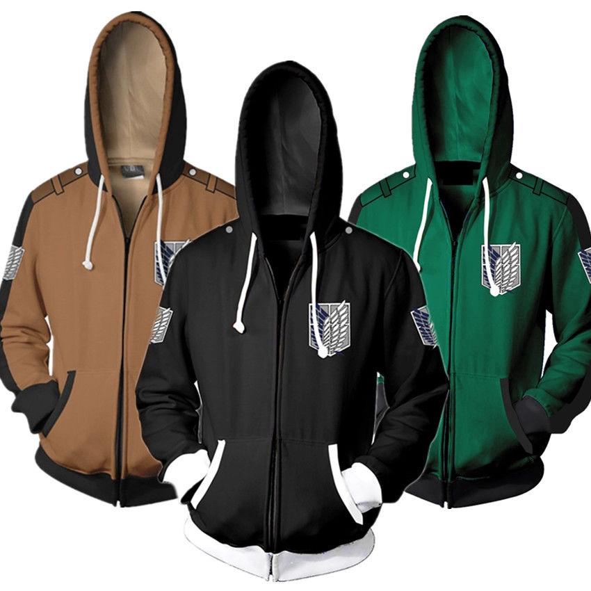Hot Attack on Titan Summer Short SleevesBlack Hoodie Hooded Coat Shirt Cosplay