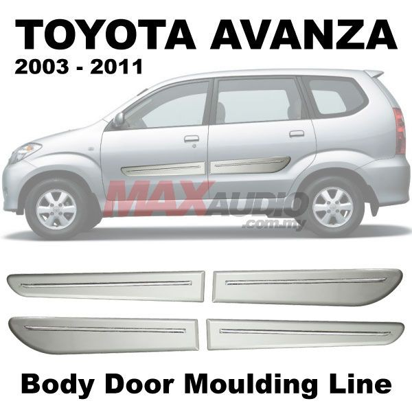 [FREE Gift] [CLEARANCE] TOYOTA AVANZA 2003-2011 Side Door Molding Body Level Lining Garnish with Silver Paint (4pcs/Set)