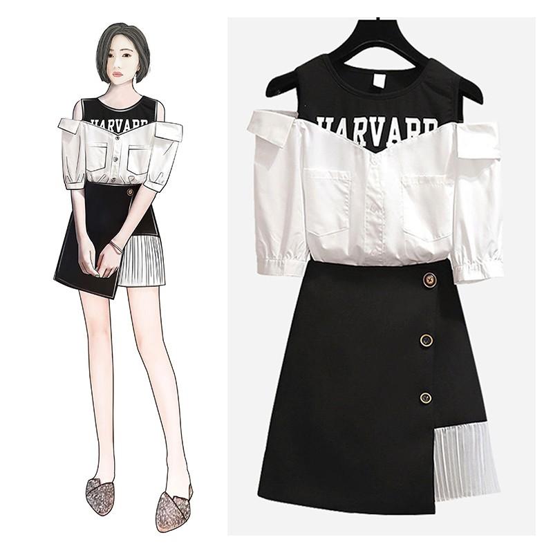 7932766ea 2 pcs set clothing women popular summer skirt shirt suit black skirts  irregular top blouse outfit vestido lady clothes