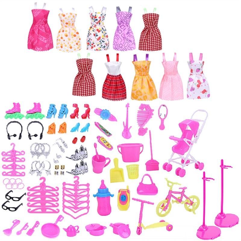 108Pc Doll Dollhouse Accessories Shoes Bag Hanger Comb Bracelet For Barbie Dolls