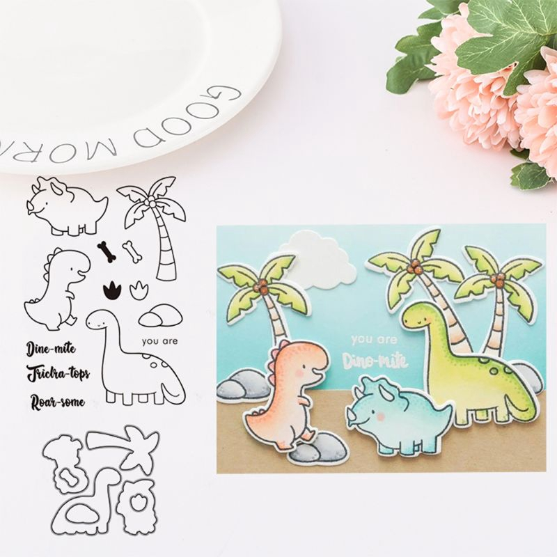 DIY Dinosaur Cutting Dies Stencil/&Clear Rubber Stamps Embossing Paper Card Decor