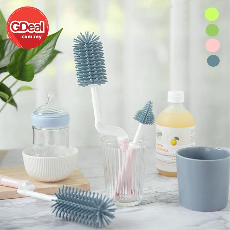 GDeal 360 Degree Rotating Baby Nipple Cleaning Brush Silicone Milk Bottle Brush Berus Botol بروس بوتول