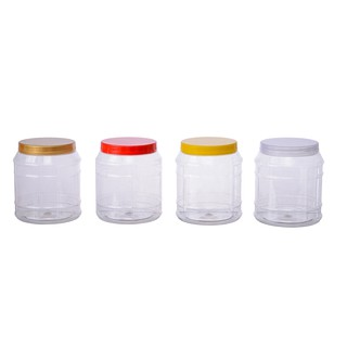 16 x 1500ml Clear Square Round Plastic Cookie//Sweet Jars with Domed Caps