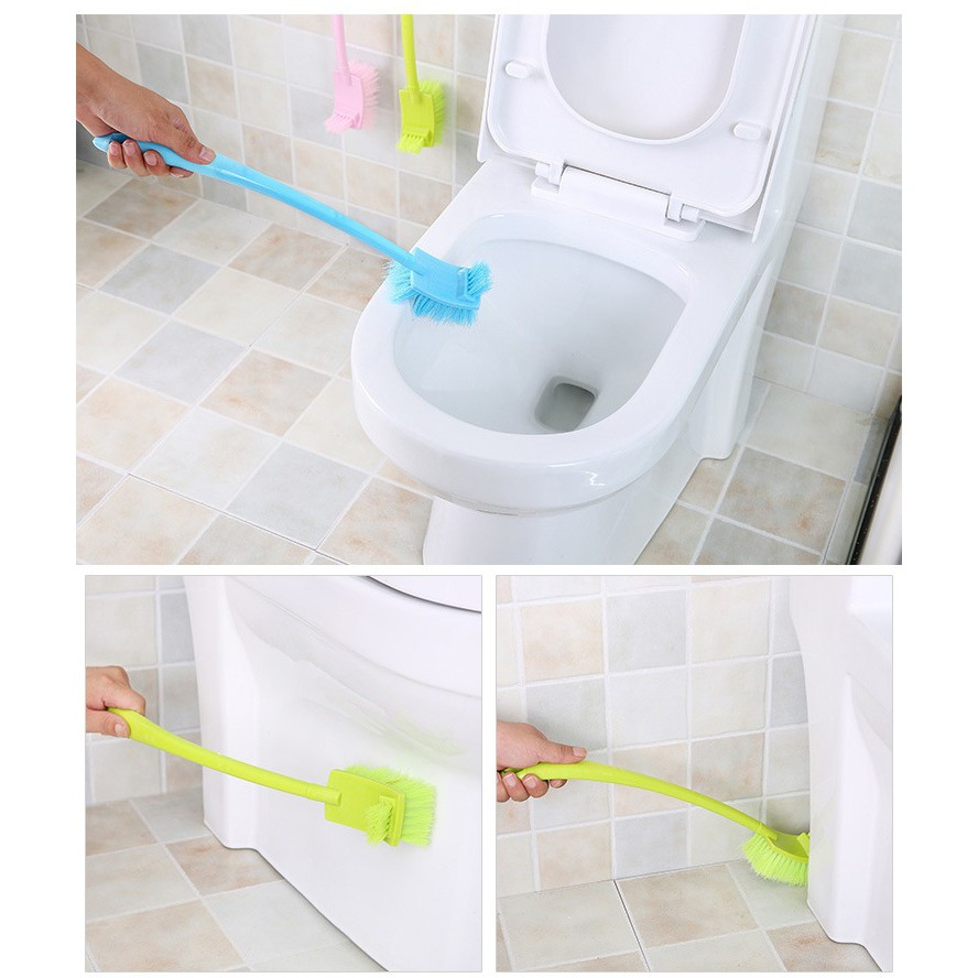 【msiastock】double sided toilet brush plastic long handle bathroom cleaning  brush