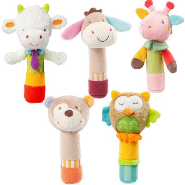 Boys Girls Newborn Baby Soft Sound Animal Plush Handbells Squeeze Rattle Toy gr8