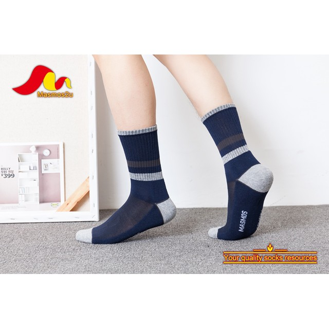 MEN COTTON TERRY CREW SOCKS MIX COLOUR