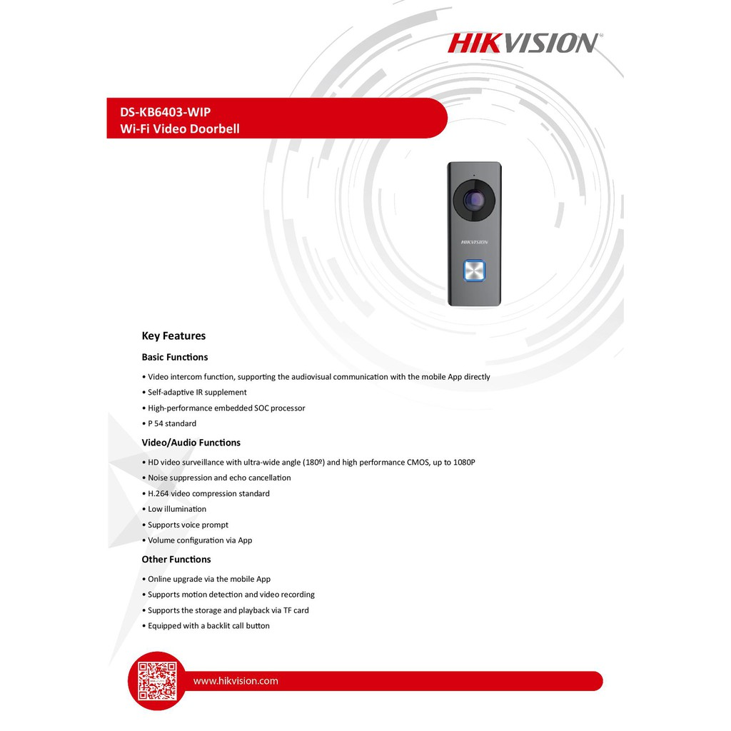 Hikvision DS-KB6403-WIP Wi-Fi Video Doorbell | Shopee Malaysia