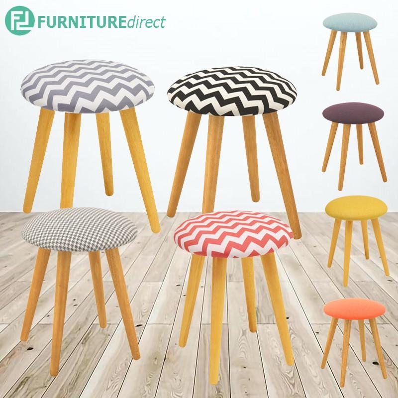 POPPY wooden stool in fabric cushion seat/ stool kayu kain
