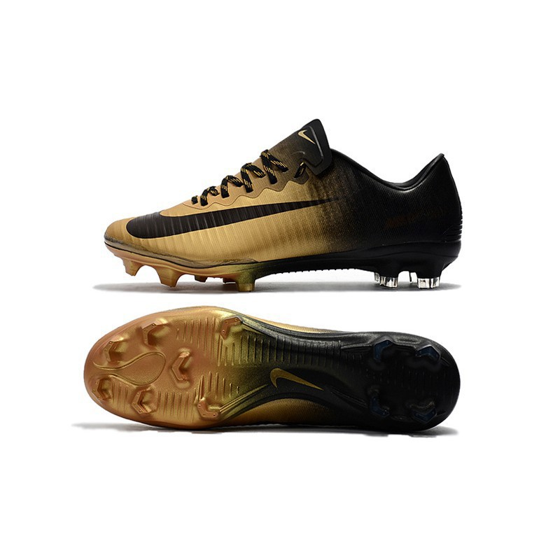 cheap for discount afe87 a3cb9 Nike Mercurial Vapor XI FG black gold mens low sport soccer football shoes  39-45
