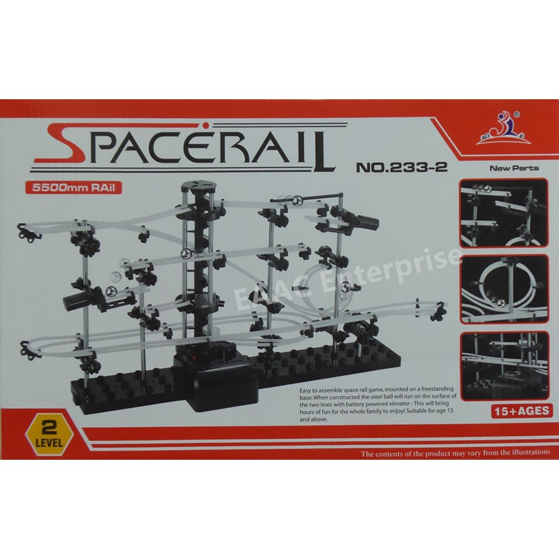 SpaceRail DIY Physics Space Ball Rollercoaster with Powered Elevator