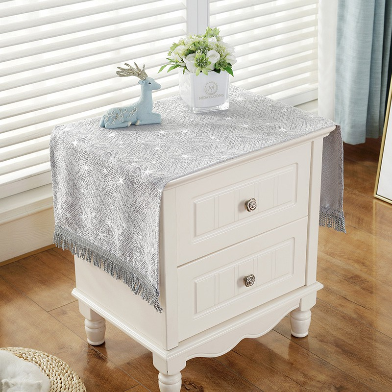 Korean Style Bedside Table Cover Cloth Modern Minimalist Tassel Small Coffee Table Tablecloth Plain Drawer Side Cabinet Shopee Malaysia