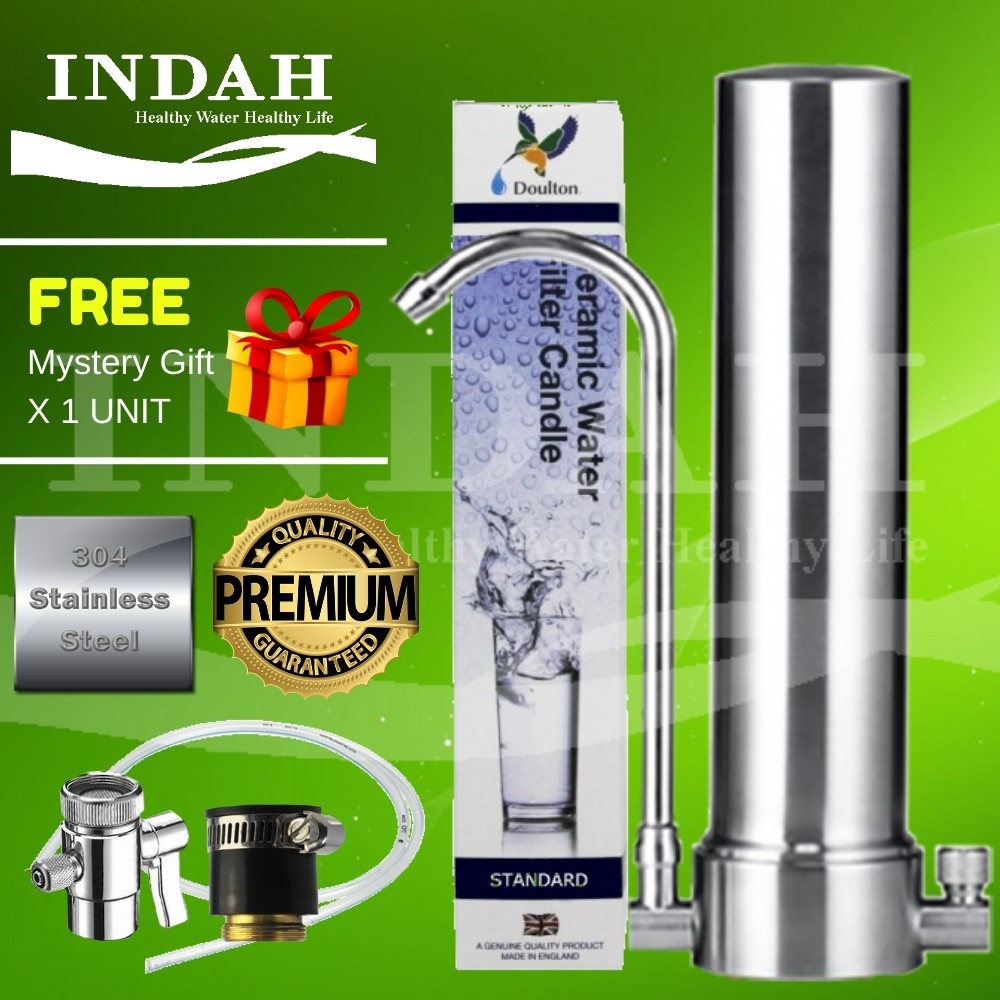 England 304 Stainless Steel Countertop Single Water Filter / Water Purifier System With Doulton Standard Ceramic Filter