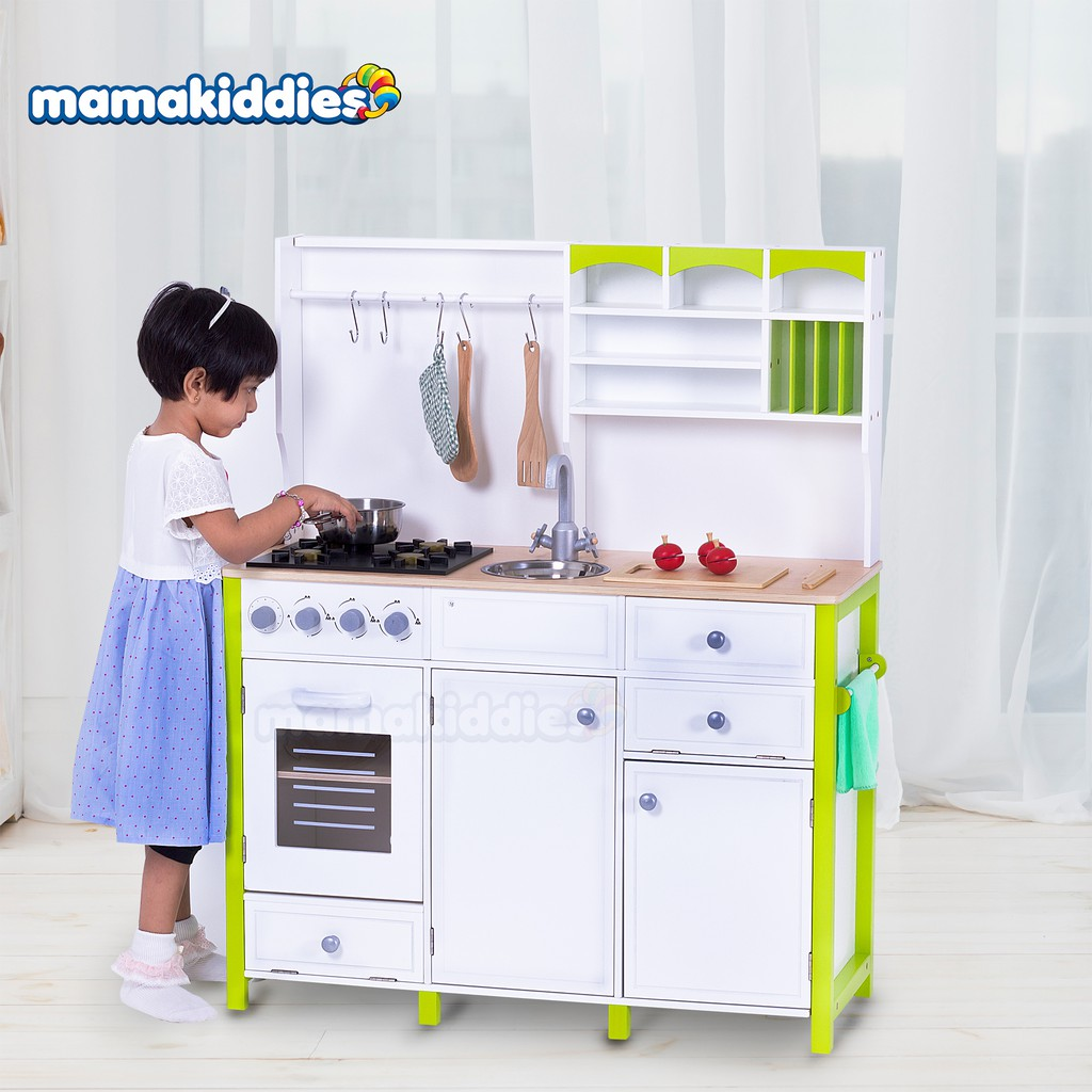 Realistic Design Big Pretend Play Wooden Kitchen Playset Toy