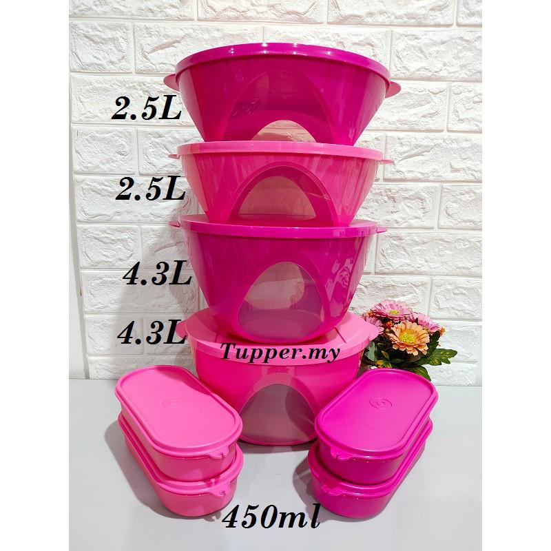 *4.3L 2pcs*Tupperware Outdoor Dining Bowl + Ezy Oval Keeper Pink Set 8pcs/Oval keeper 450ml 4pcs Level