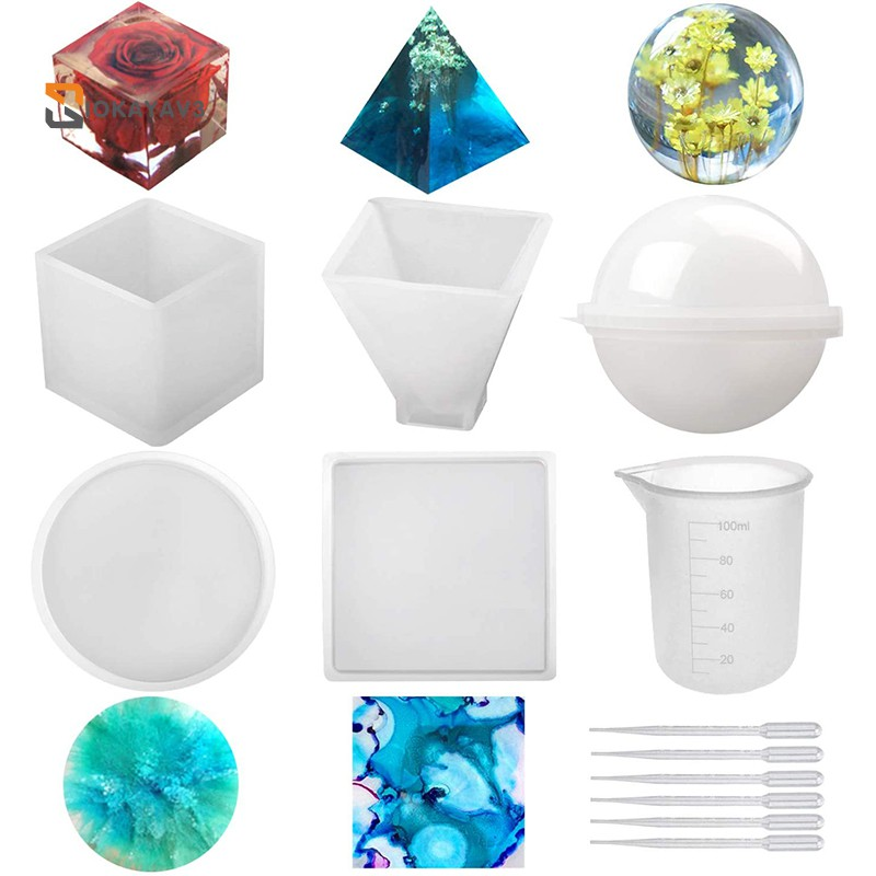7Pcs Silicone Epoxy Resin Casting Art Molds Include Large Round Sphere Flower Pot//Pen//Candle Soap Holder Square Pendant for DIY Jewelry