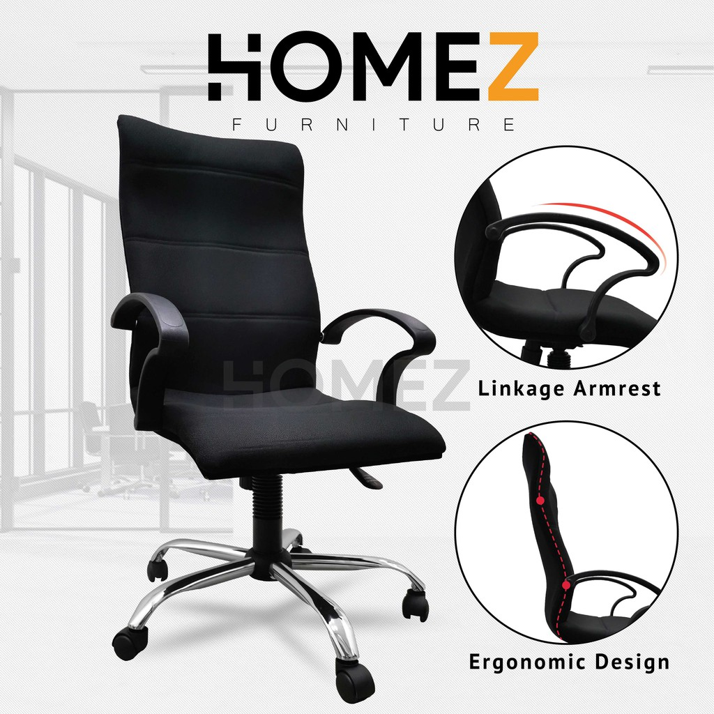 3V Excecutive High Back Office Chair with Fixed Arm and Adjustable Height (FABRIC Cushion) - ECC7091L-BLK