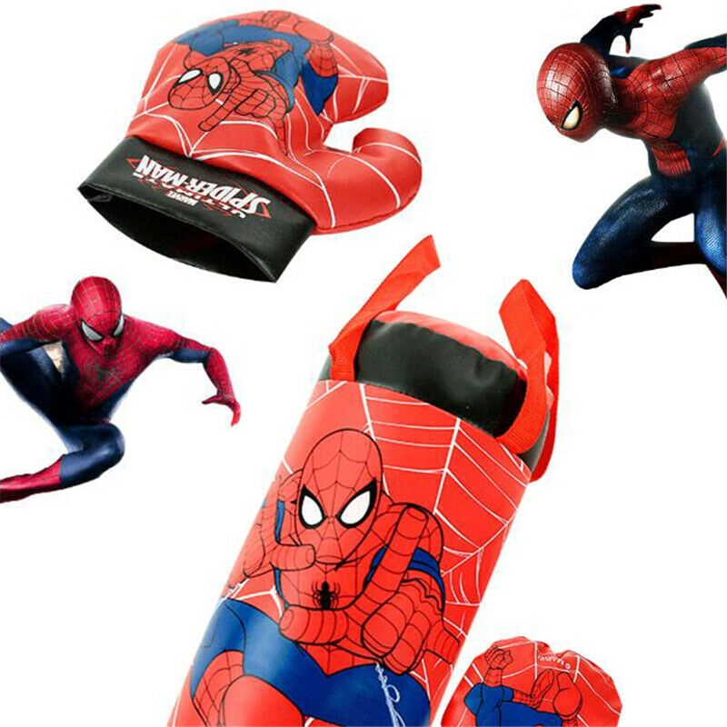 Marvel Avengers Spiderman Kids Boxing Bag Gloves Punching Set Children Toys Gift