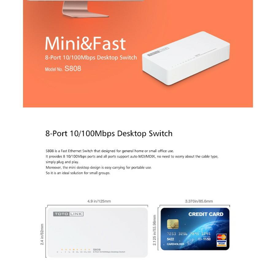 TOTOLINK S808 8-PORT 10/100MBPS DESKTOP NETWORK SWITCH Fast Ethernet Speed