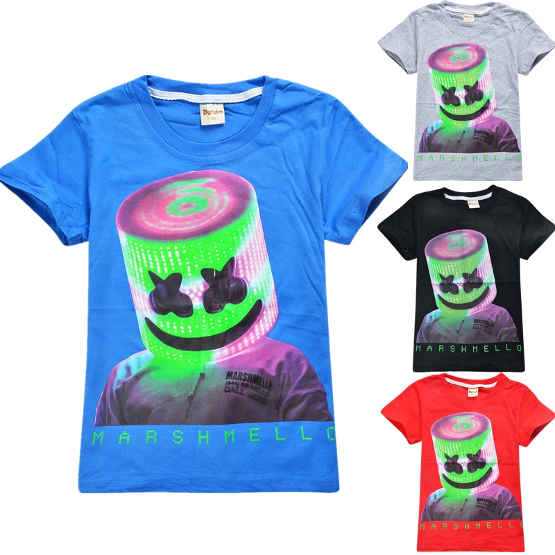 Kids Boys Marshmello DJ Music Mask Print T-shirt Short Sleeve Cotton Tee Tops