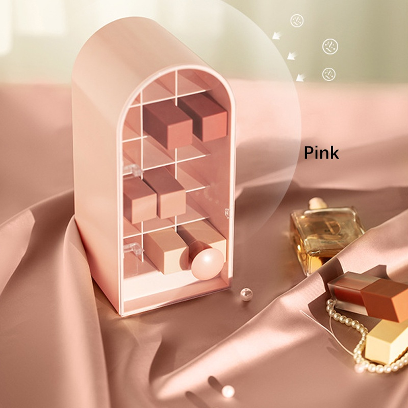 GDeal Lipstick Storage Box With Compartments And Lid Handle Design Transparent Cosmetic Storage