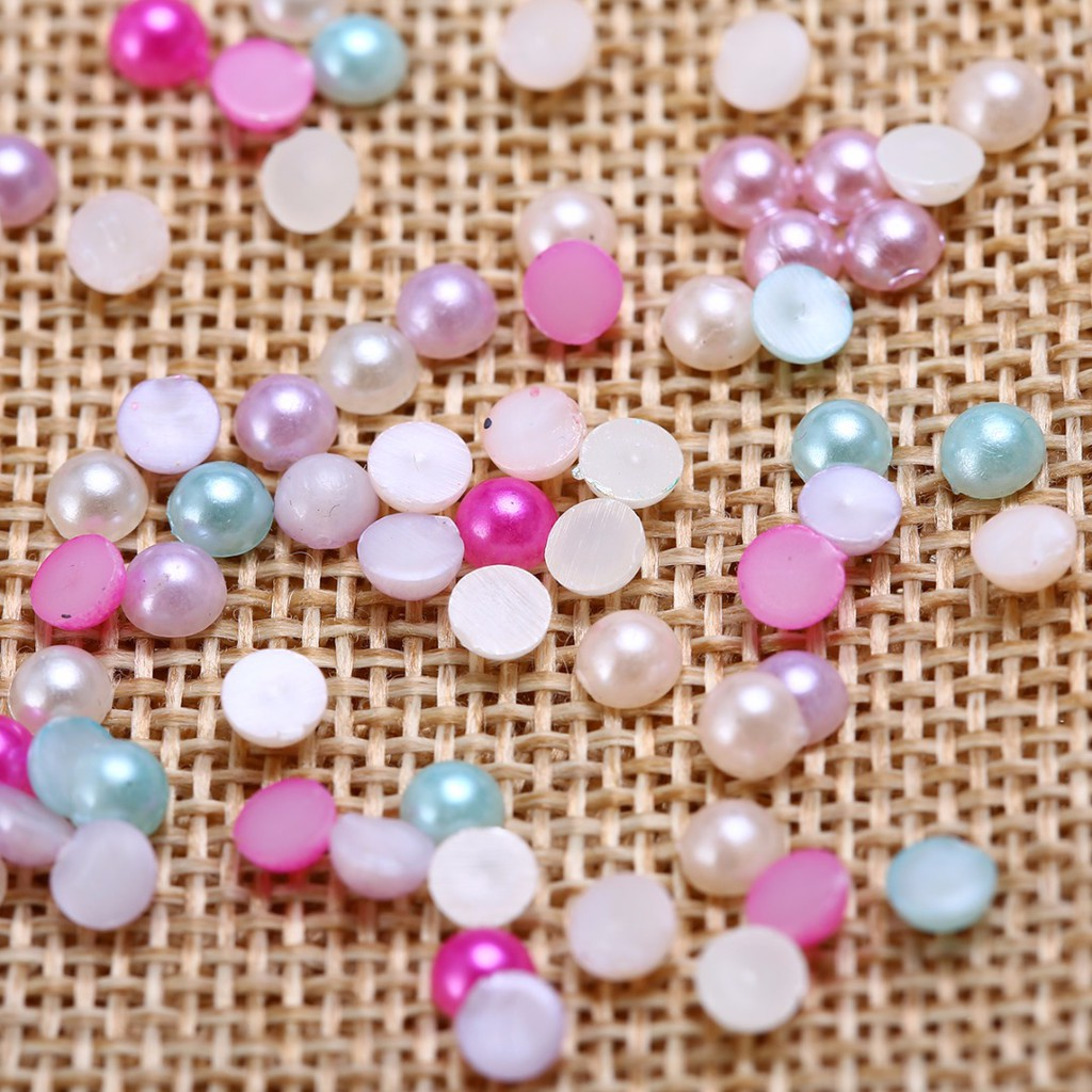 For Craft FlatBack 50Pcs Faux Half Pearl Round DIY Bead Flat Back 10mm Scrapbook