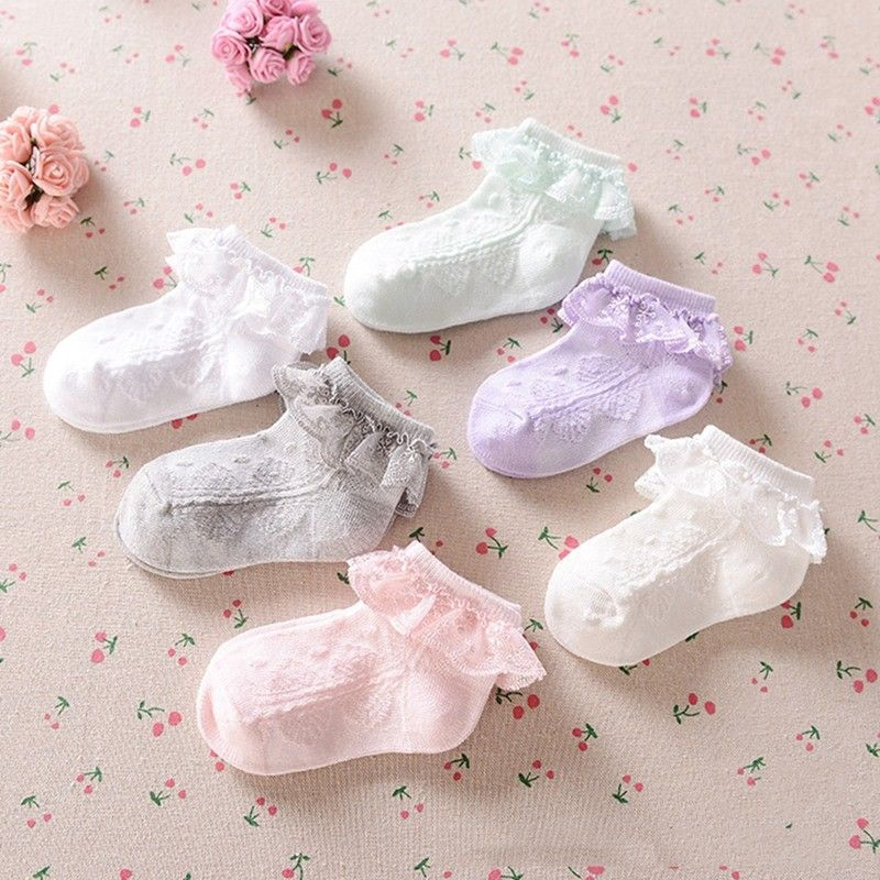 Cute Decorative Baby Girl Pink Frilly Lace Spanish Style Ankle Socks