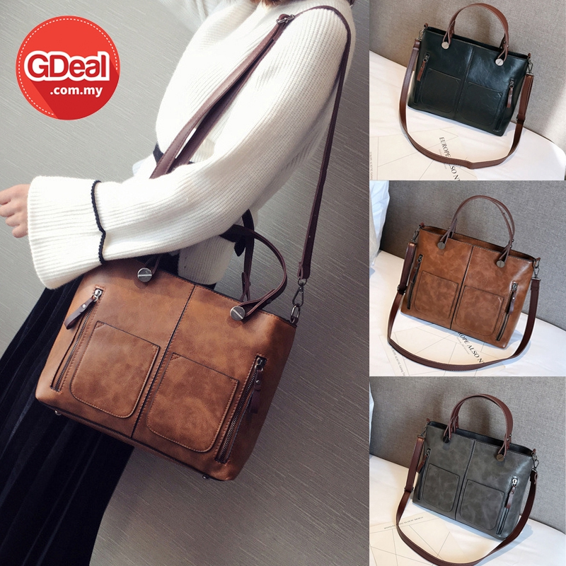 GDeal Women PU Soft Leather Large Capacity Office Leisure Shoulder Bag Beg Wanita بيڬ وانيتا